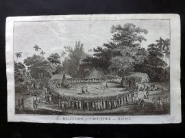 Cook, Anderson, Hogg 1784 Antique Print. Reception of Capt. Cook in Hapaee